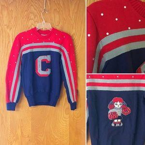Vintage 90s cheer sweater, emblems & rhinestones